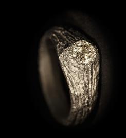 Anello in titanio muto e diamante