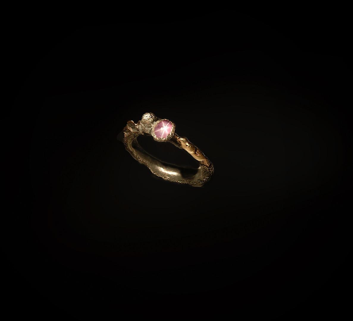 Anello in argento, ferro e rubino stellato