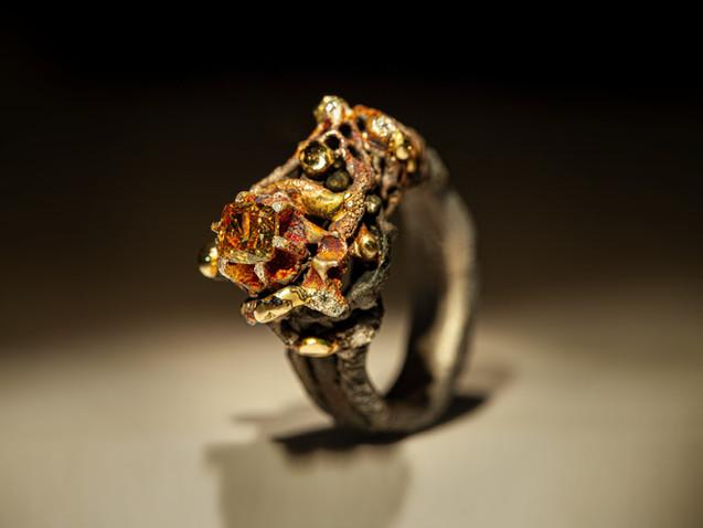 Anello in argento, ferro, bronzo, oro e diamanti