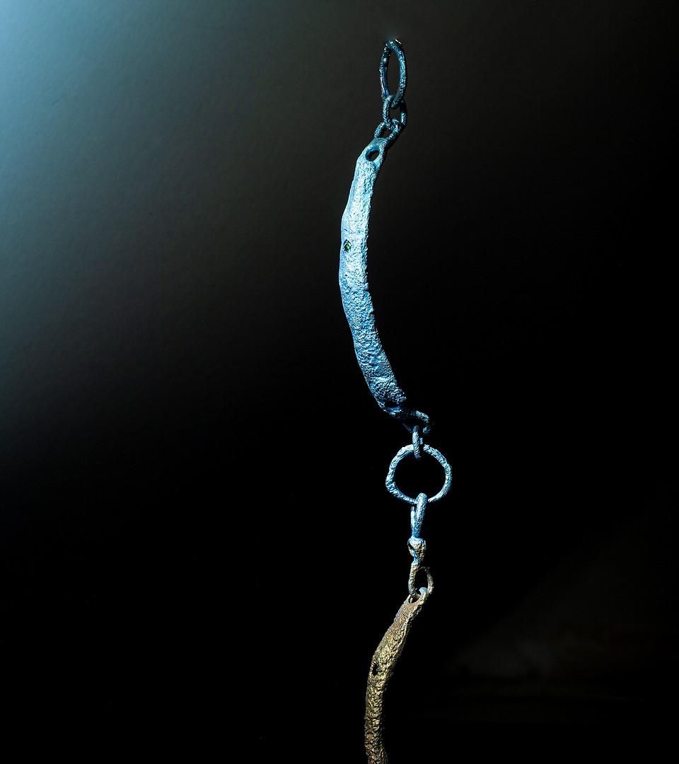 Bracciale in titanio, argento e diamante