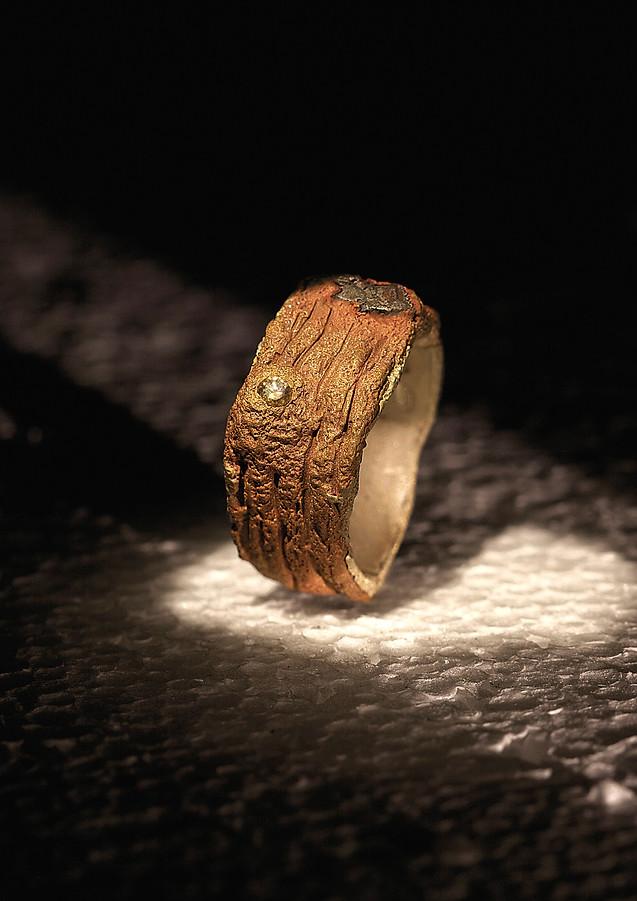 Anello in bronzo, diamante e ferro