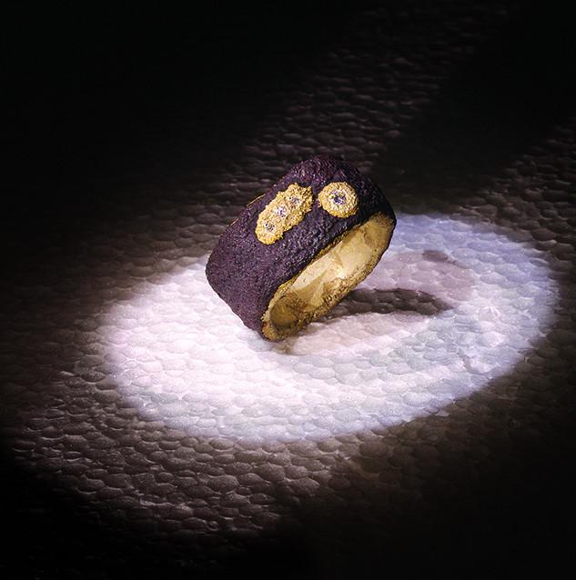 Anello in ferro-oro e diamanti