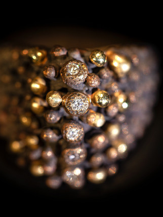 Anello in bronzo, argento oro e diamanti