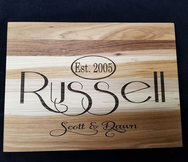 Laser etched Hickory cutting board