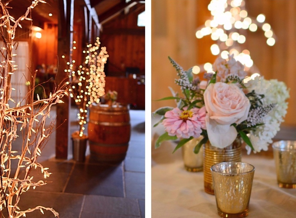 Blush Summer Wedding at The Barns | Cocktail flowers