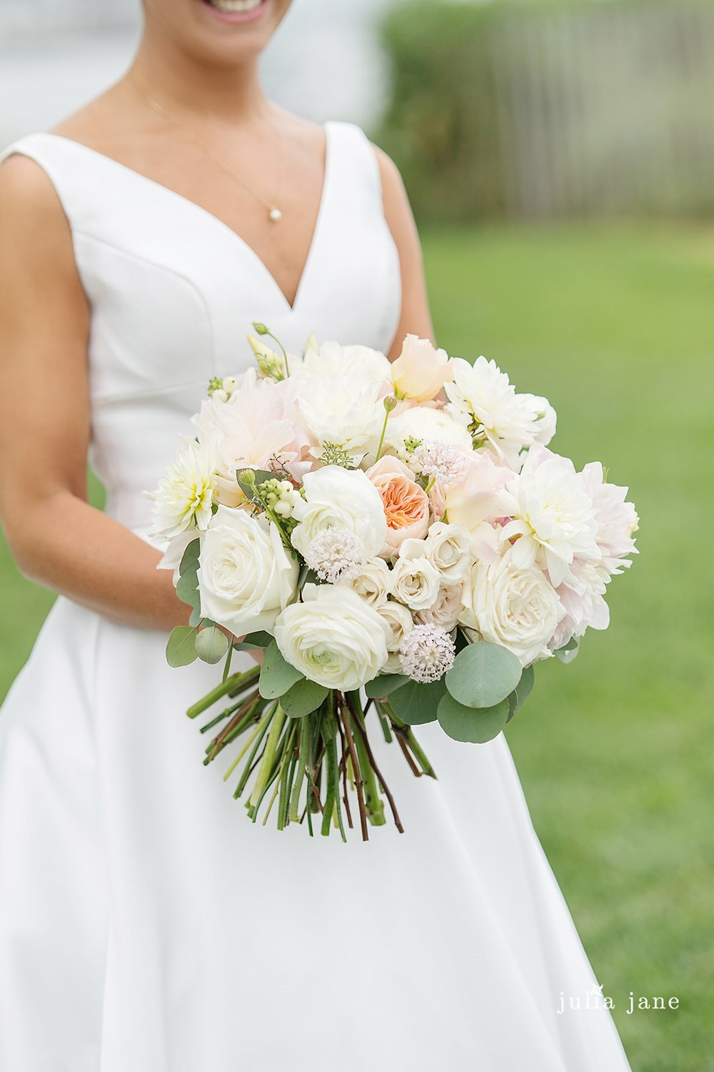 Bride's bouquet with Roses and Dahlias