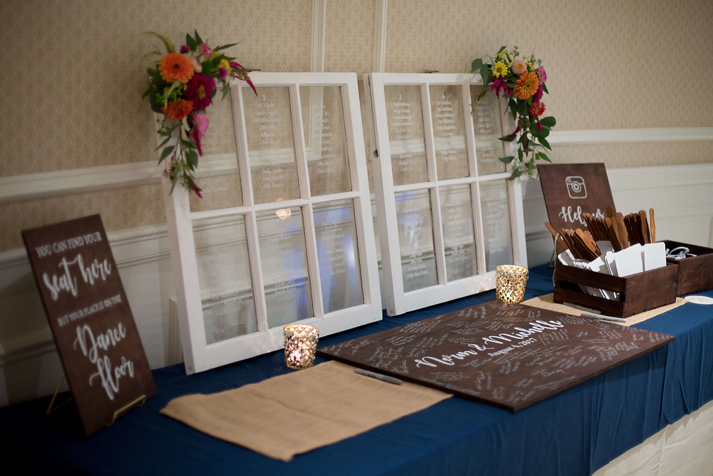 Seating chart, guest book