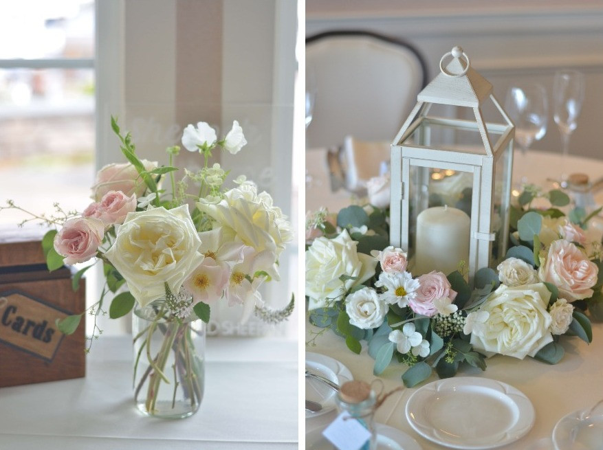 Lantern & Roses ring shaped centerpieces & gift card table flowers