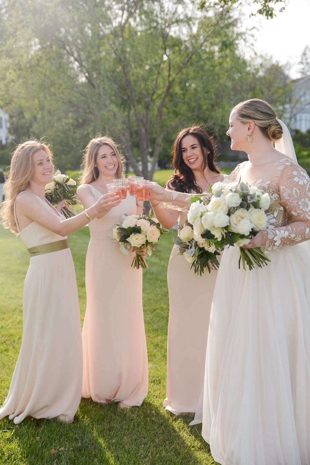 Bride and Bridesmaid's Rose Bouquets
