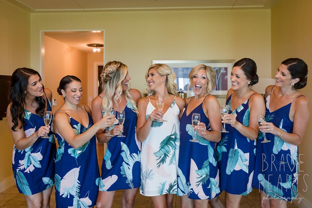 Blue summer bridesmaid's wedding robes