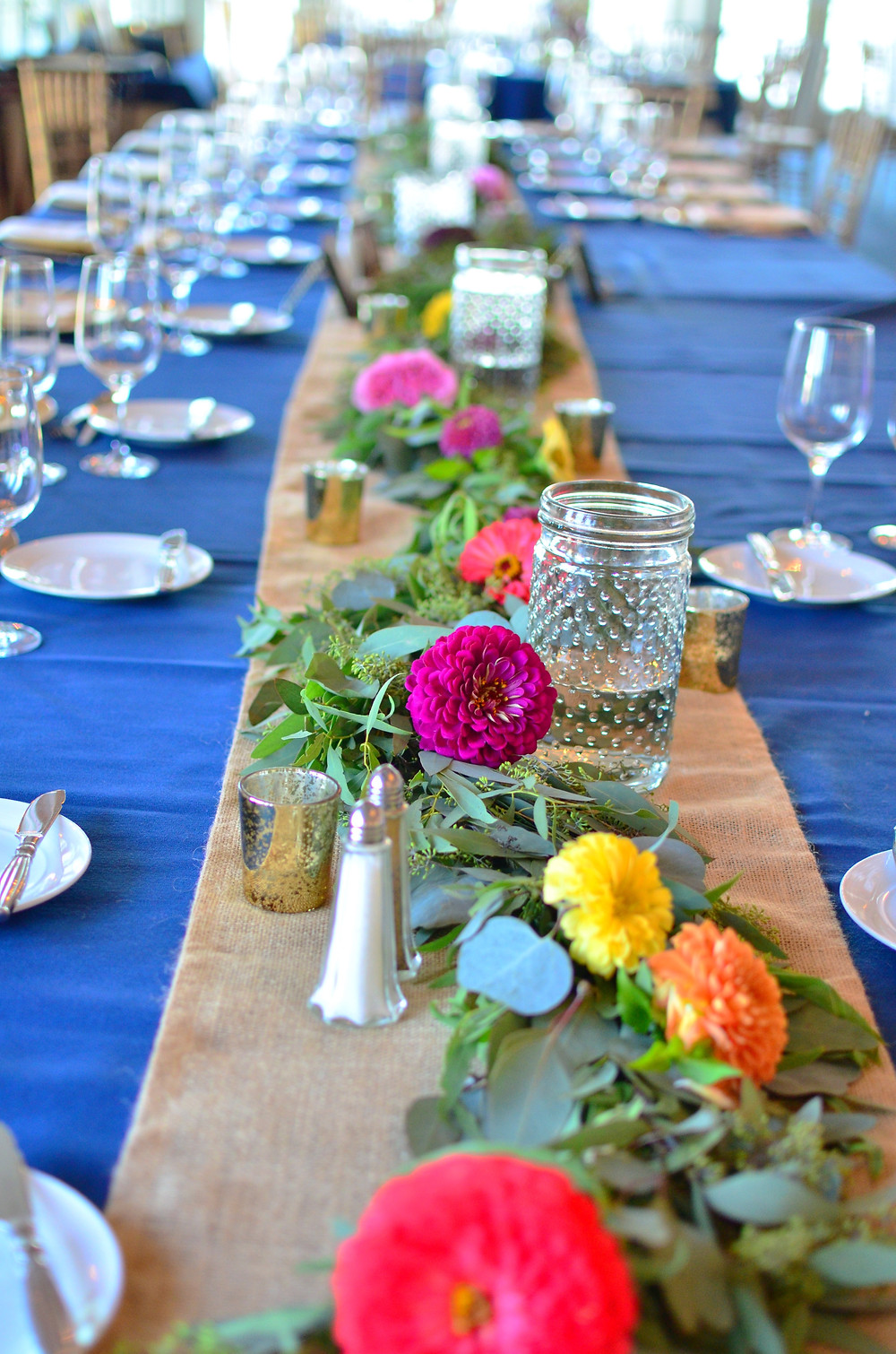 Colorful Summer Wedding at Madison Beach Hotel | Centerpieces Garland