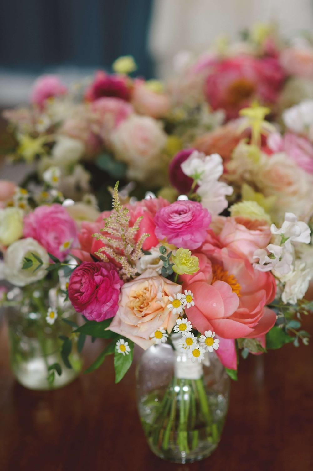 Coral Peony bridesmaid's bouquets