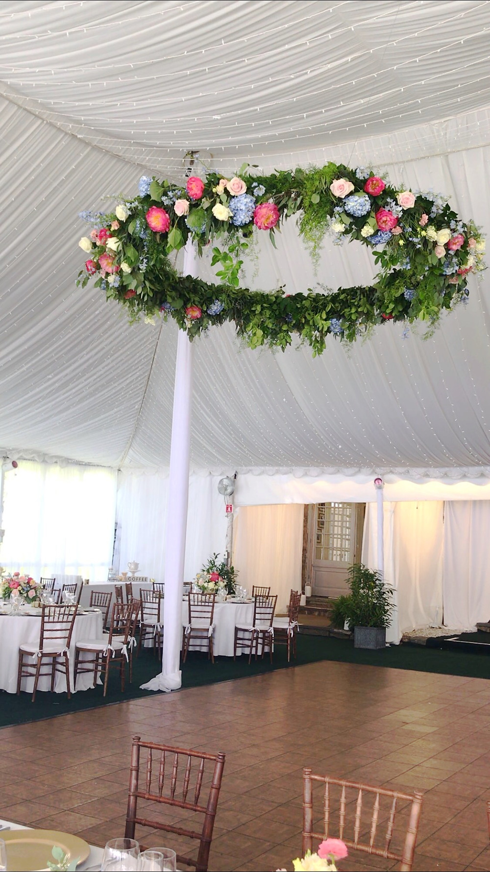 A ring floral hanging decor at The Wainwright House