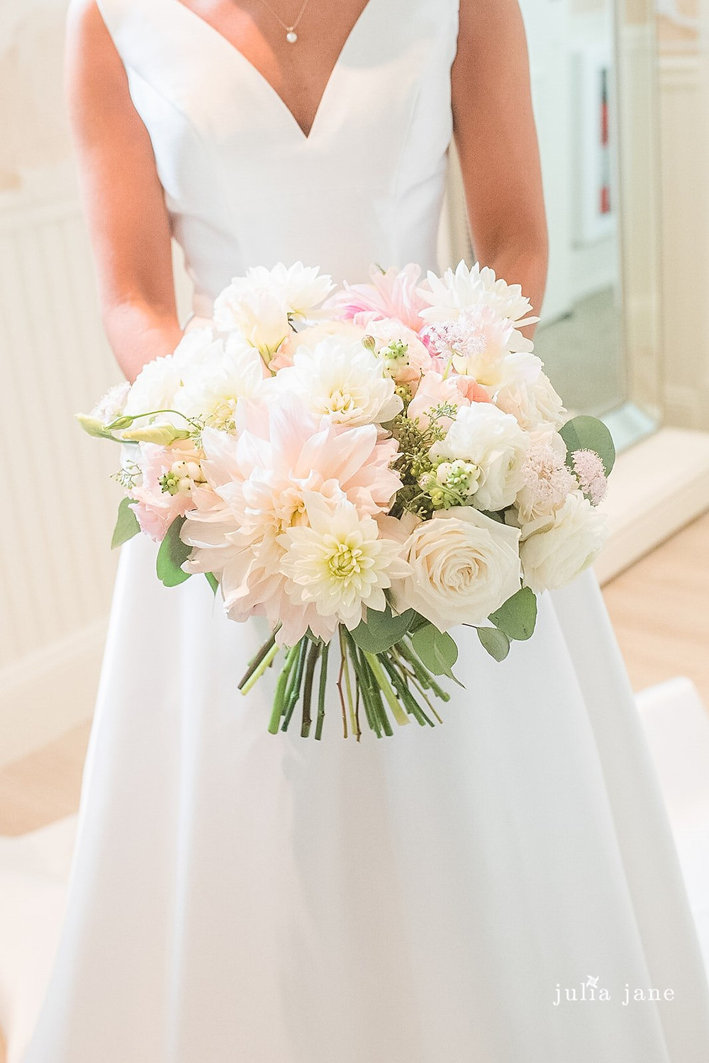 Bride's bouquet with Garden roses and Dahlias
