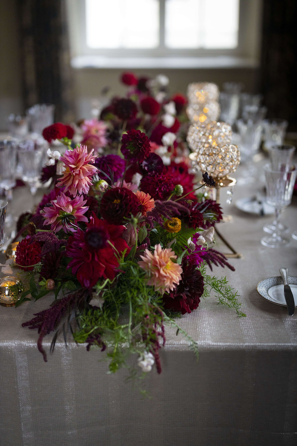 Floral garland centerpieces at Wadsworth Mansion