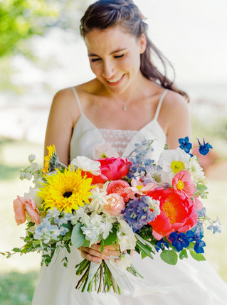 Cheerful + Colorful Beachfront Wedding at The Owenego in Branford