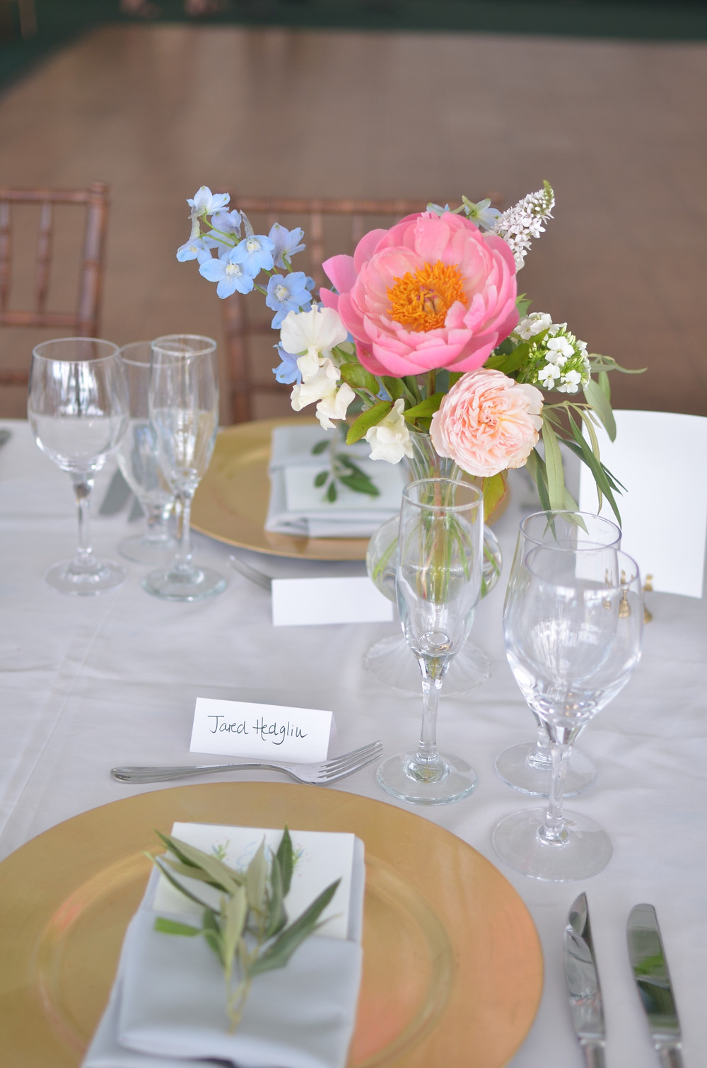 Coral peony centerpieces at Wainwright House