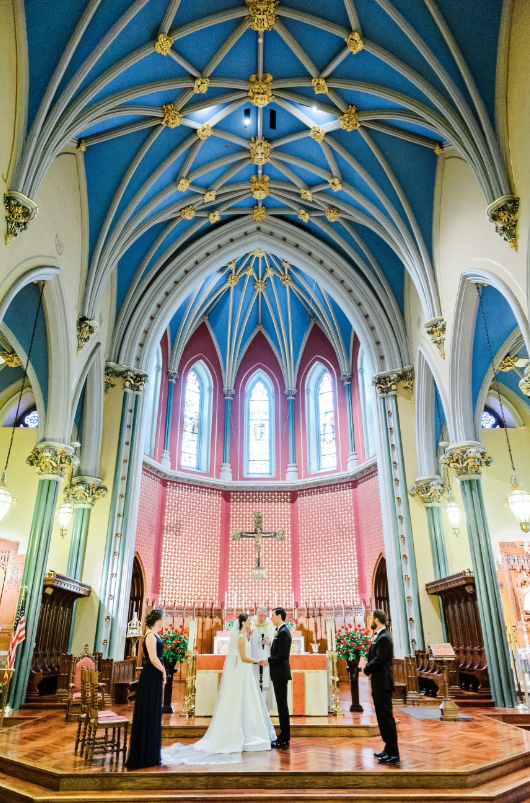 NY Style Classic Peony Wedding   Wedding Ceremony at St. Mary in New Haven