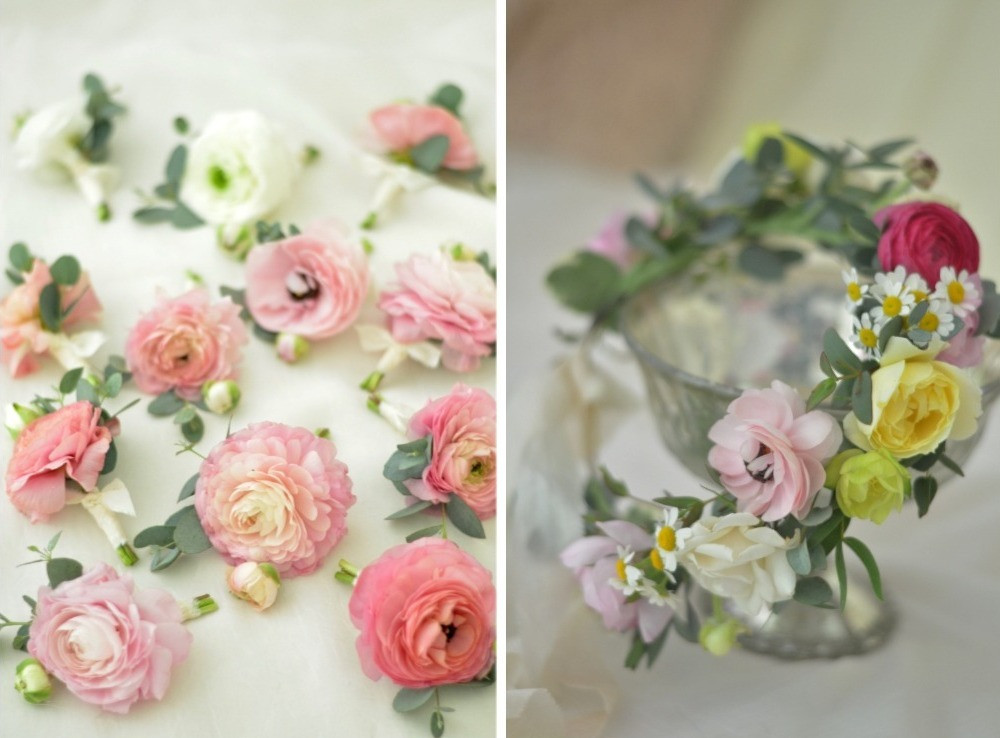 Ranunculus boutonnieres and flower crown