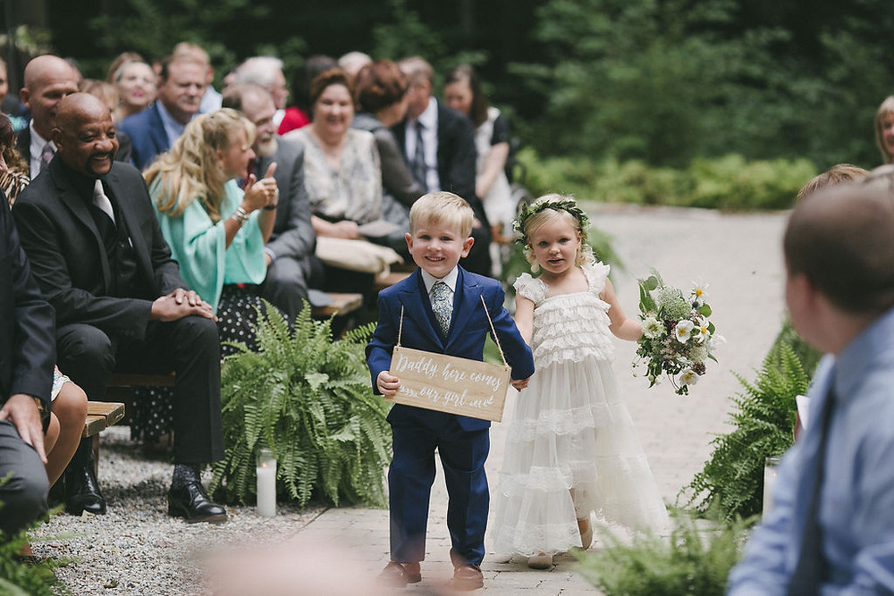 Ringbearer and Flower girl at wedding ceremony
