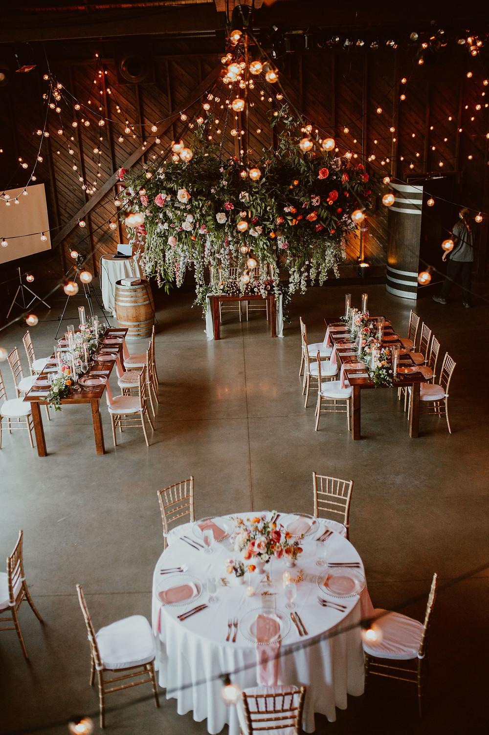Summer colorful wedding reception at Saltwater Farm Vineyard