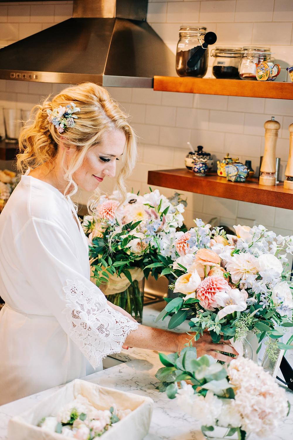 Blush & Light blue bridesmaids bouquets