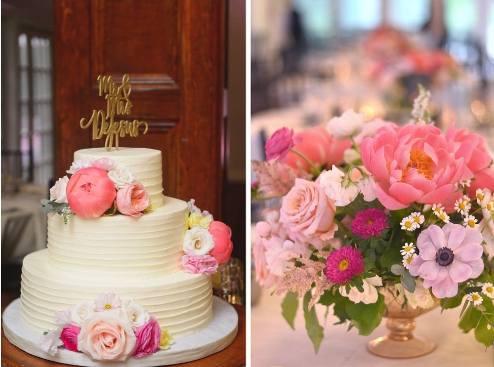 Coral peony wedding cake and centerpieces at The Woodwinds