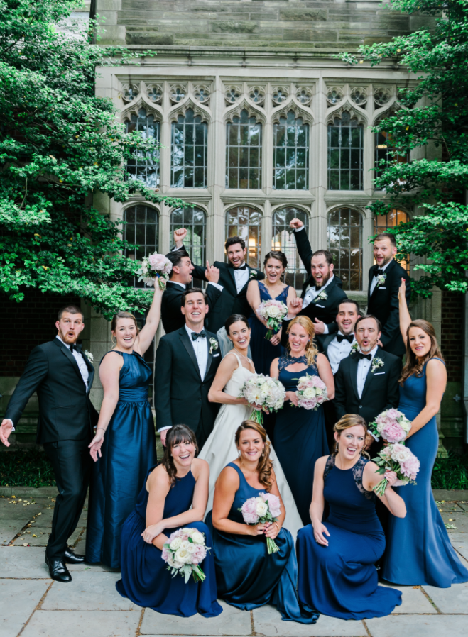 NY Style Classic Peony Wedding | Bridal Party