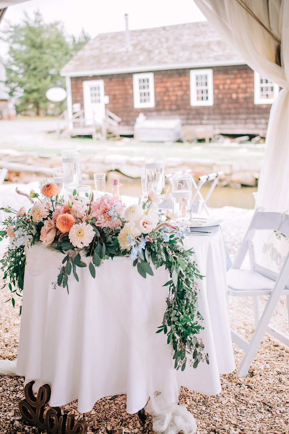 Blush & light blue Dahlia floral garland for sweetheart table