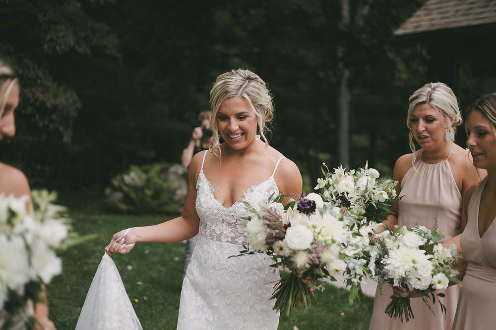 White rustic wedding bouquet at Chatfield Hollow Inn