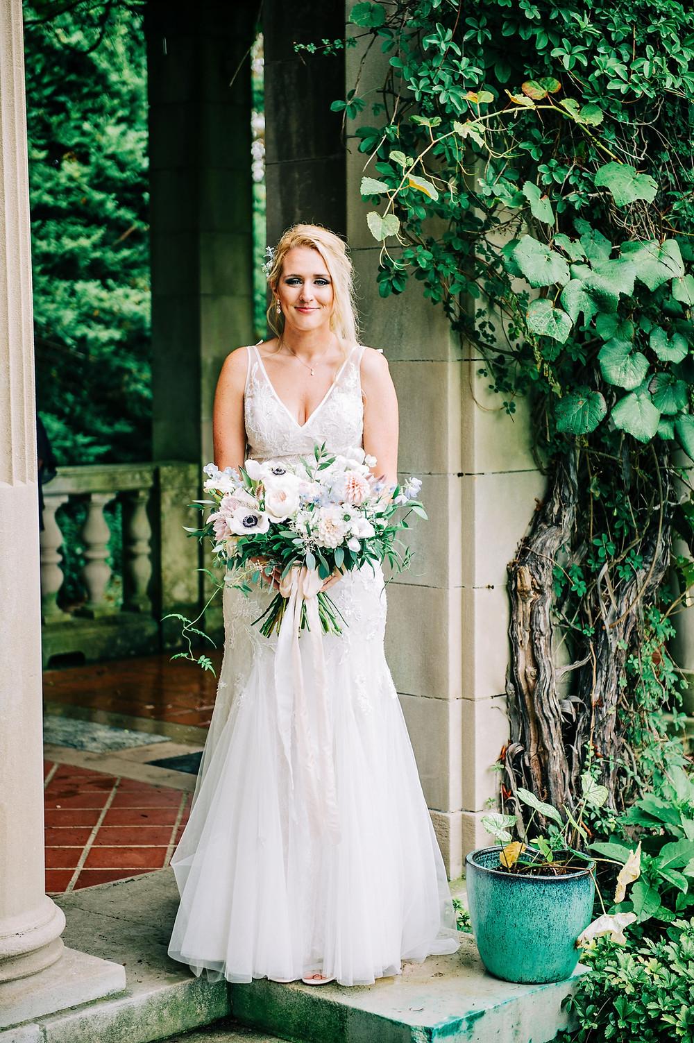 Blush & light blue pastel summer wedding bouquet at Eolia Mansion