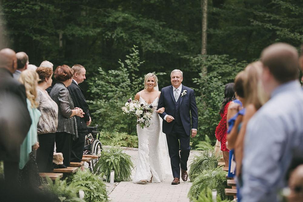 Rustic bohemian wedding ceremony at Chatfield Hollow Inn