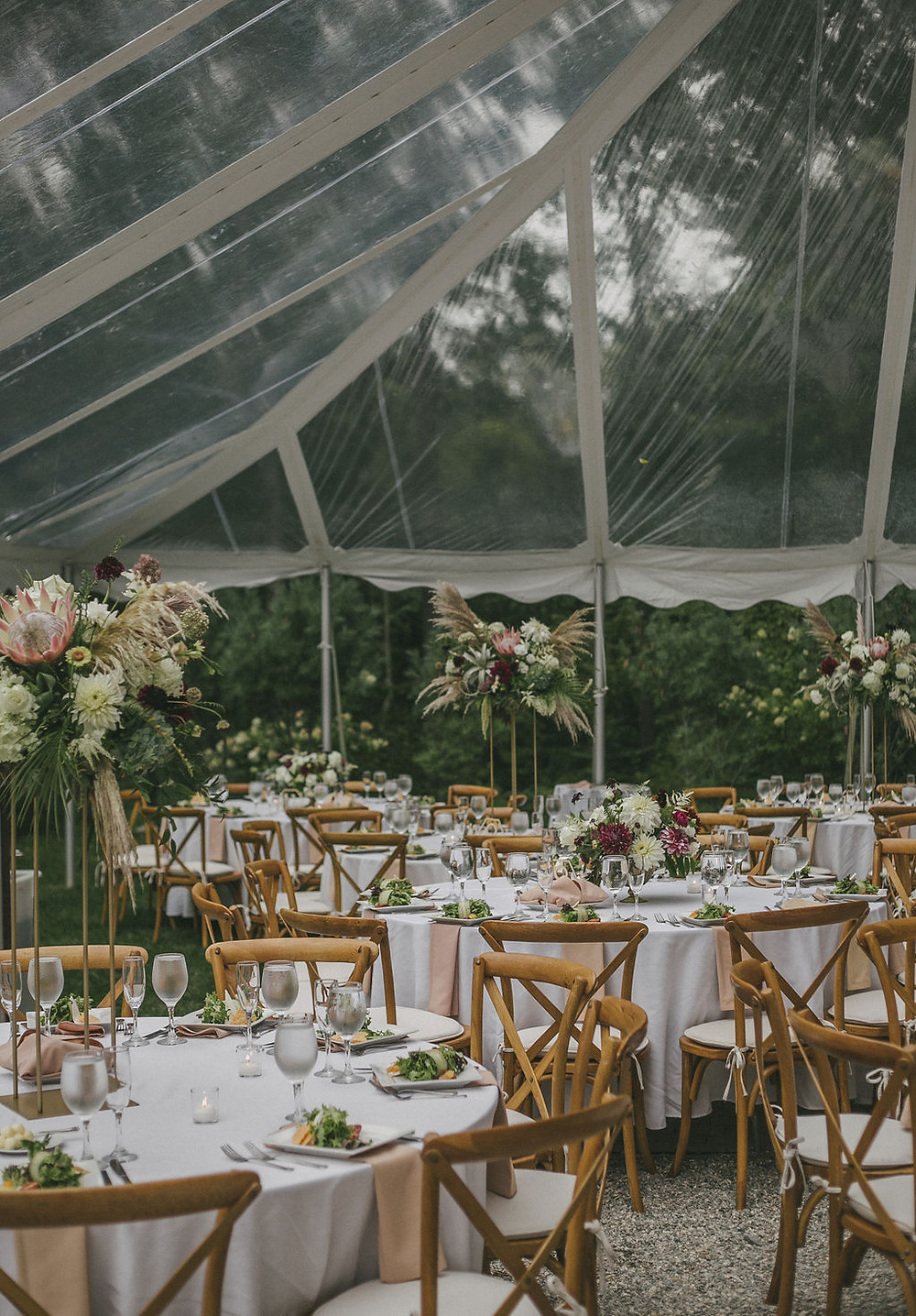 White rustic bohemian tall & low centerpieces at Chatfield Hollow Inn
