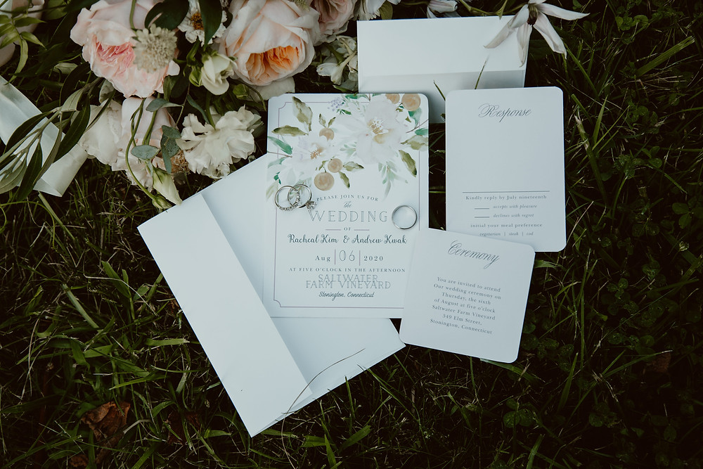 Summer wedding wedding stationary at Saltwater Farm Vineyard