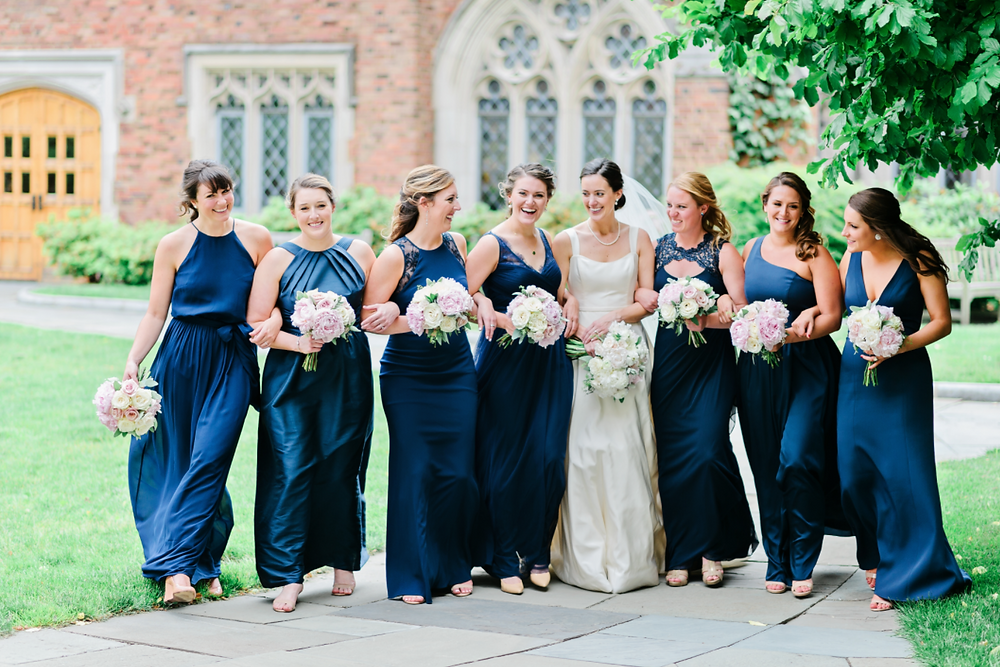 NY Style Classic Peony Wedding | Bridesmaids & Bride