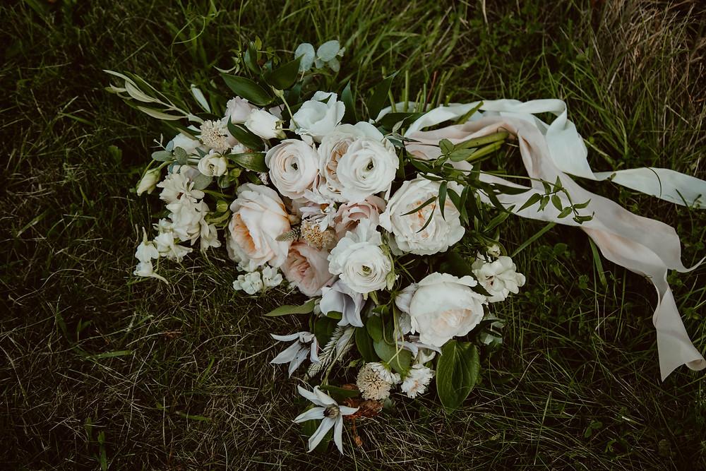 Summer white & blush pink wedding bouquet at Saltwater Farm Vineyard