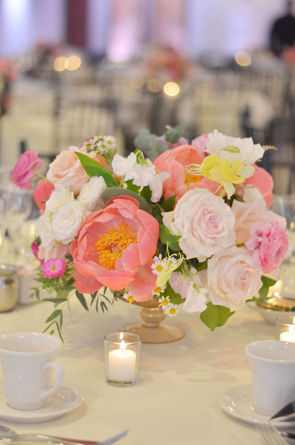 Coral Peony centerpieces at The Woodwinds
