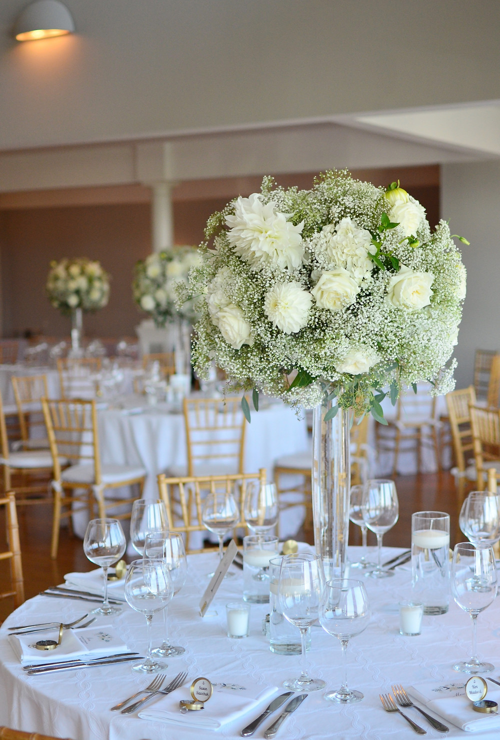 Dahlias & Baby's Breath White Wedding at Guilford Yacht Club | Tall Centerpieces