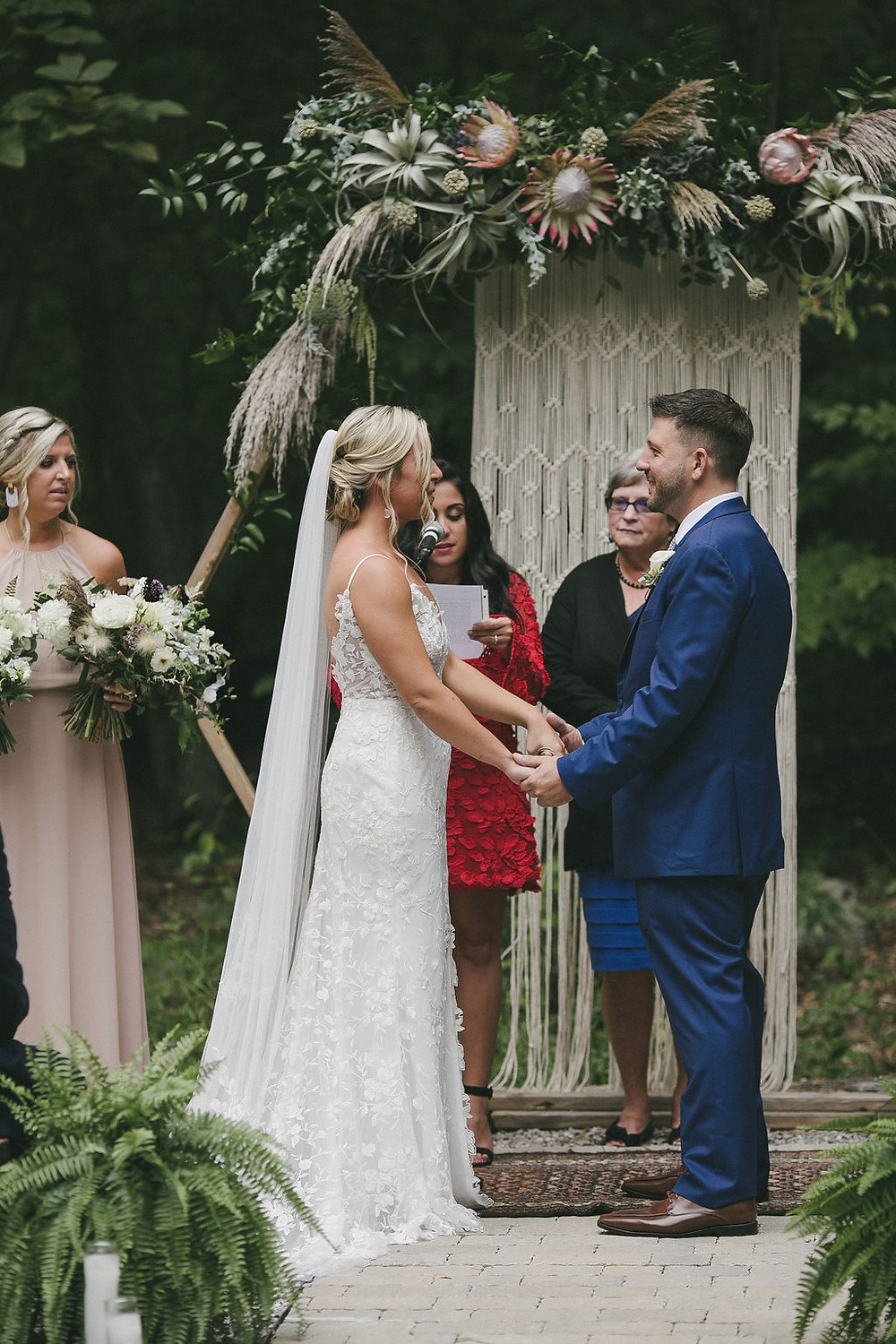 Bohemian rustic wedding with hexagon arch at Chatfield Hollow Inn