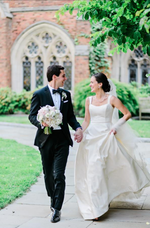 NY Style Classic Peony Wedding | Groom & Bride at Yale University