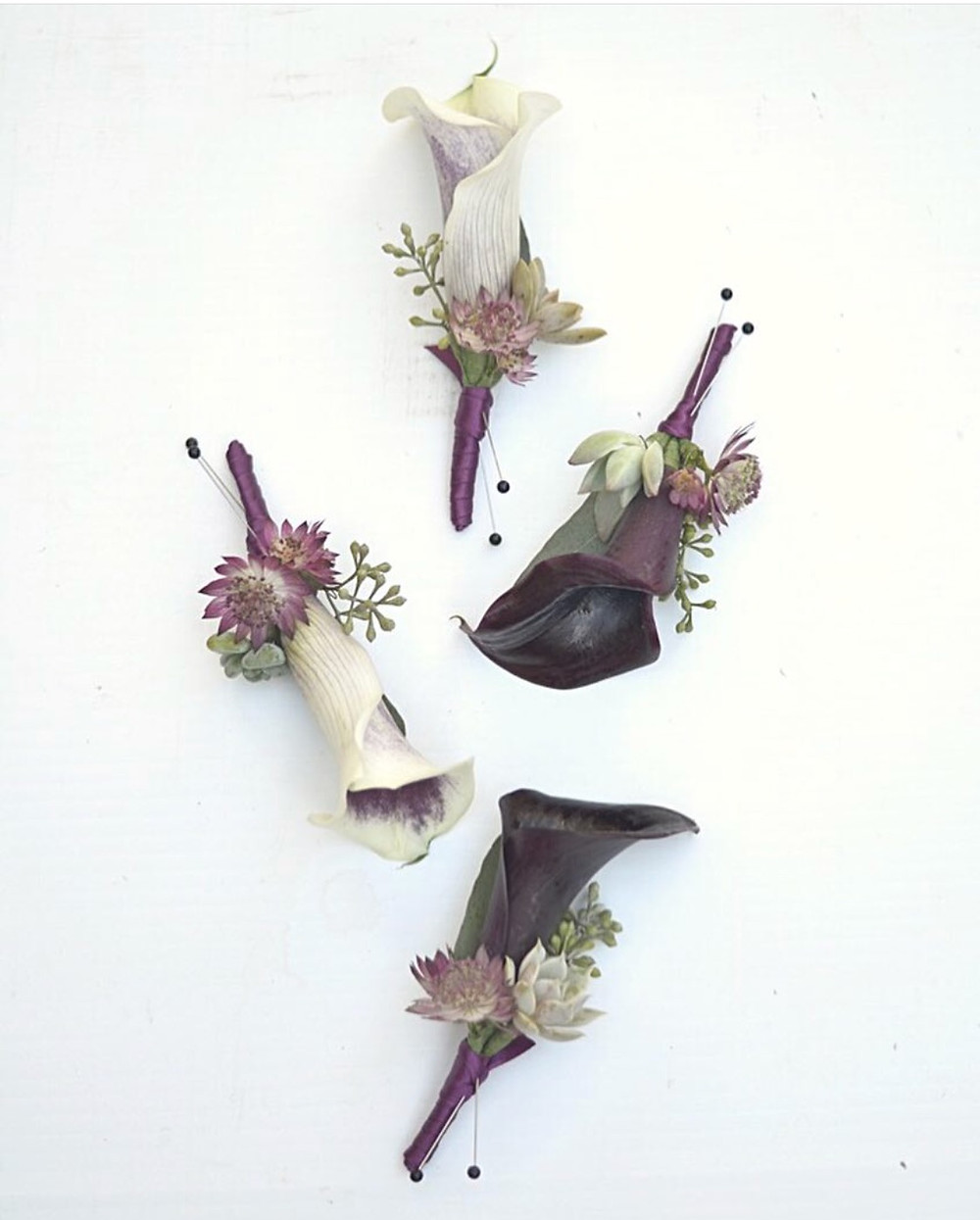 Calla lily boutonnieres with Astrantias, small Succulents and seeded Eucalyptus