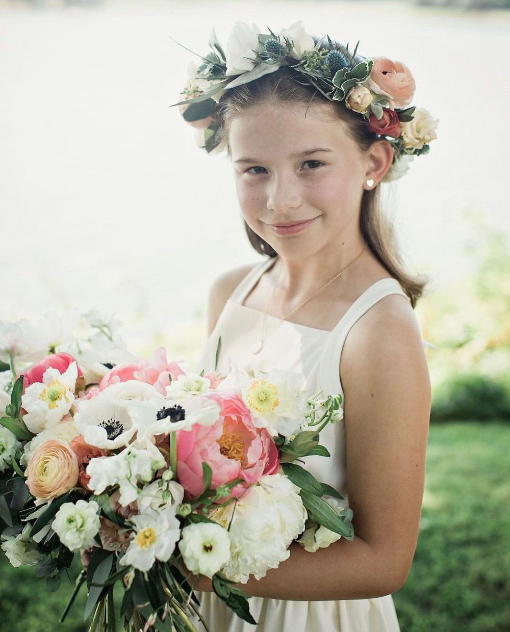 Flower crown & Coral peony wedding bouquet at Wainwright House