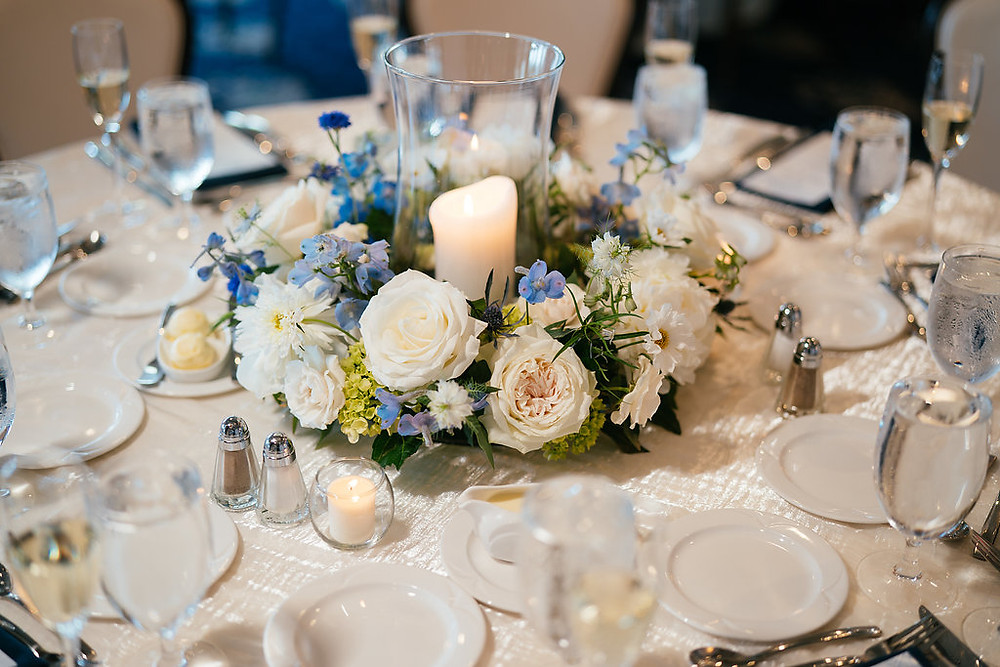 Ring shaped centerpieces with candles
