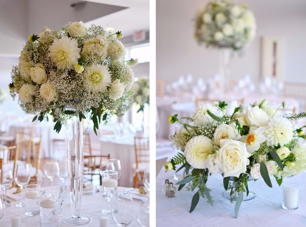 Dahlias & Baby's Breath White Wedding at Guilford Yacht Club | Centerpieces