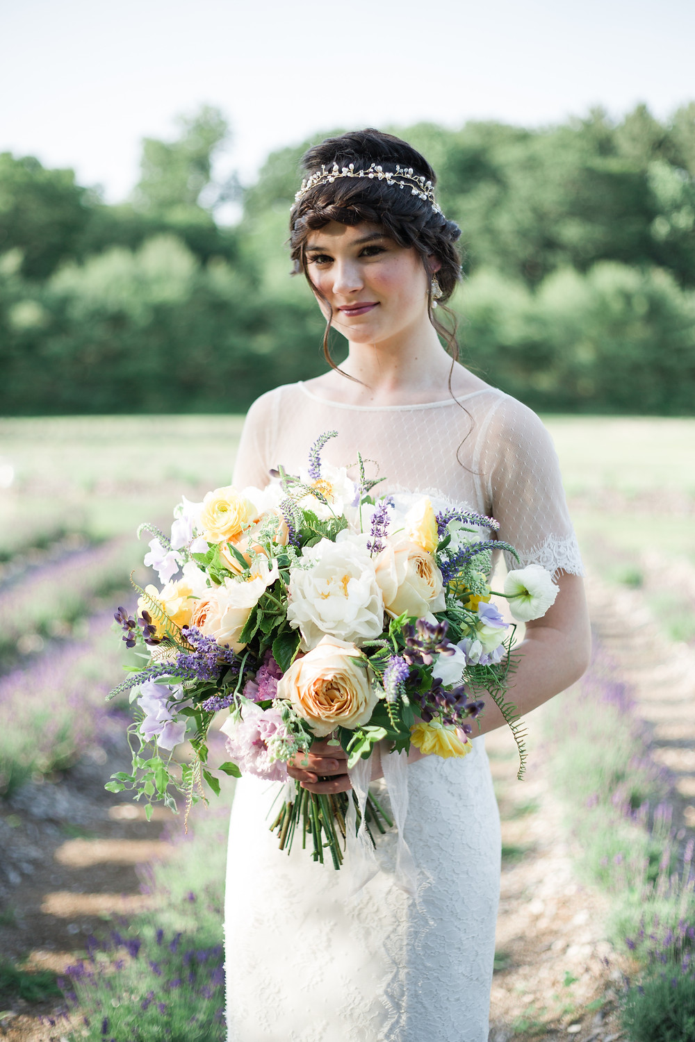 Gaden style wedding bouquet at Lavender Pond Farm