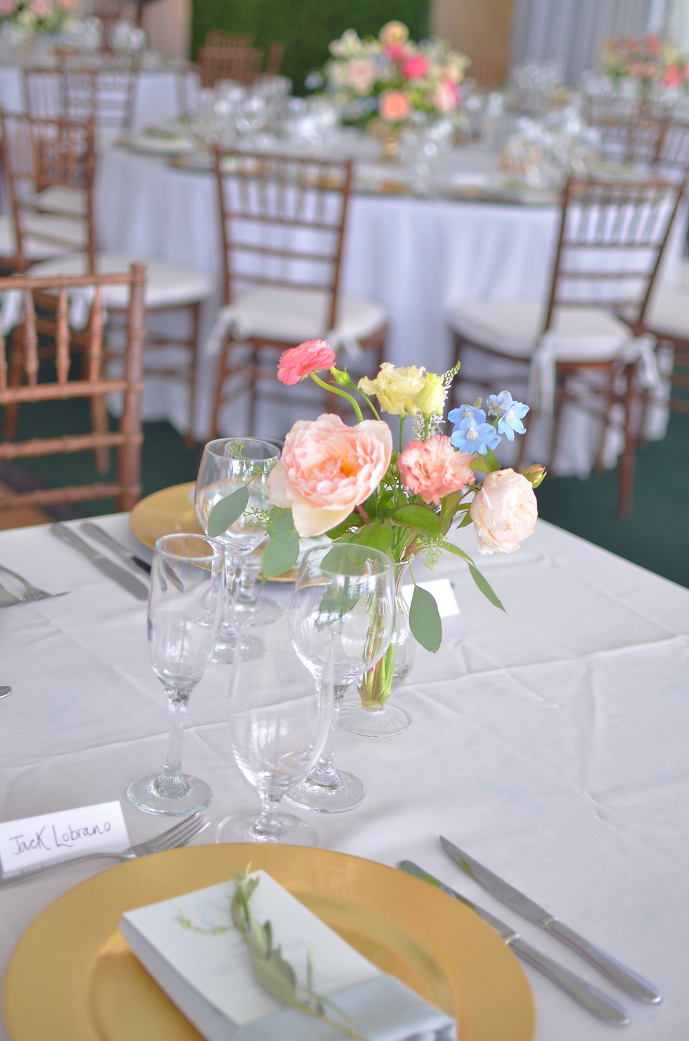 Garden rose centerpieces at Wainwright House