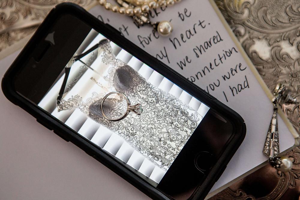Wedding dress, rings, Jewelery