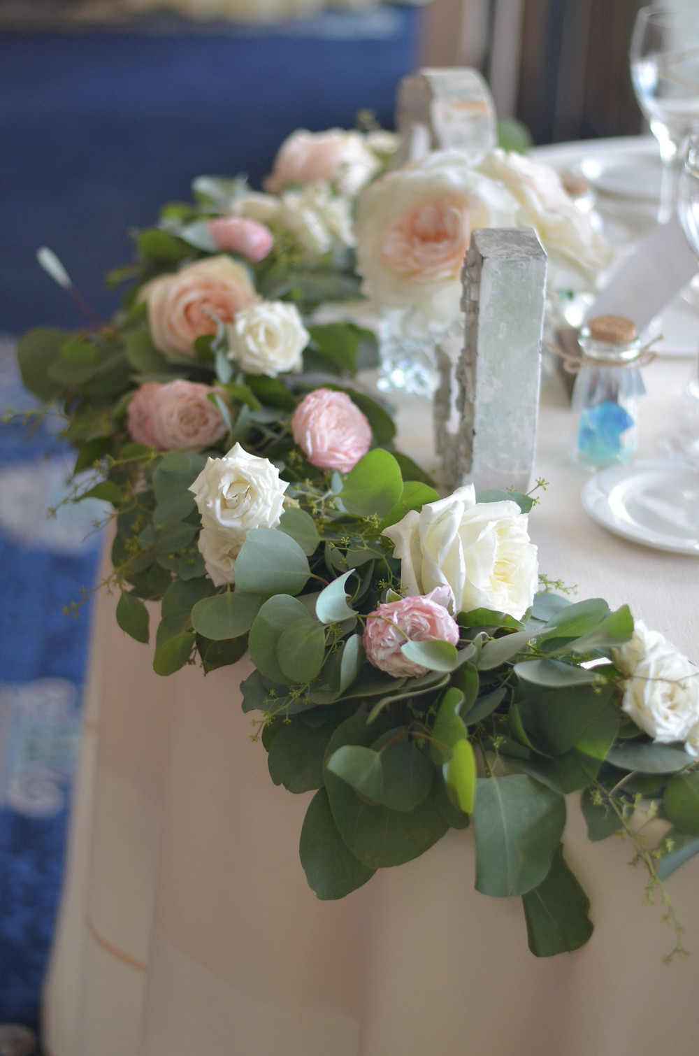 Rose & Eucalyptus garland for the sweet heart table