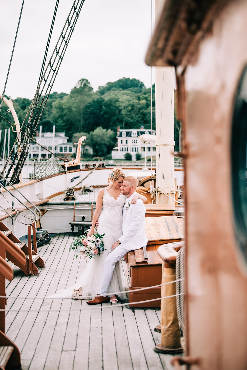 Pastel summer dahlia wedding at Boat shed in Mystic Seaport Museum