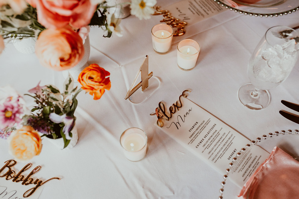 Colorful wedding table decor at Saltwater Farm Vineyard